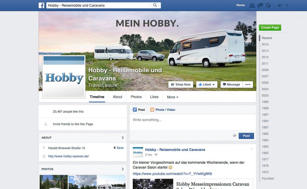Hobby Facebook-Fanpage